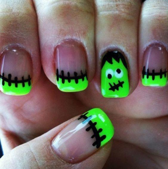 unas-halloween-francesa-verde