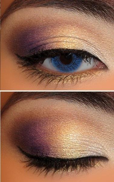 Maquillaje morado en los ojos