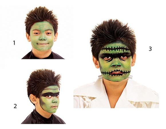 Maquillaje Halloween para niños maquillaje de Frankenstein