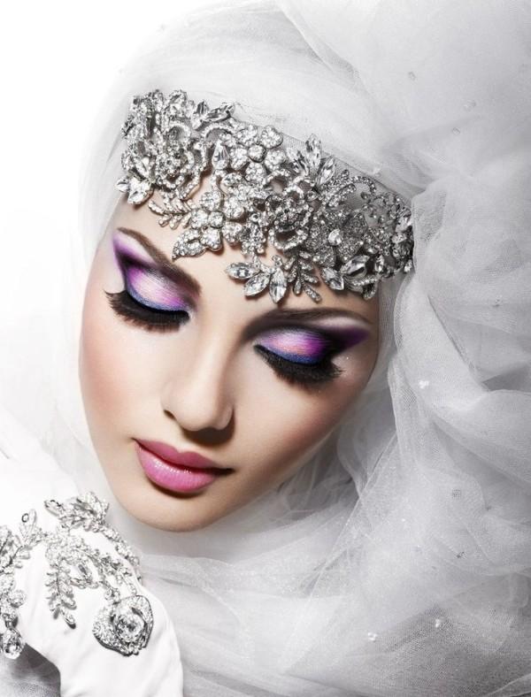 Imágenes de maquillaje árabe para Carnaval 2016-sombras-lilas-azules