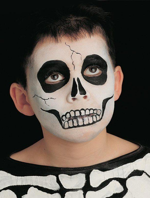 maquillaje halloween esqueleto para ninos calavera