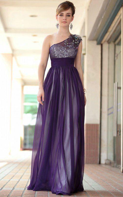 Vestido morado lila con negro