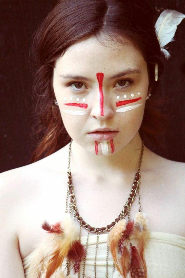 maquillaje-de-india-para-carnavales-halloween-2016-rojo