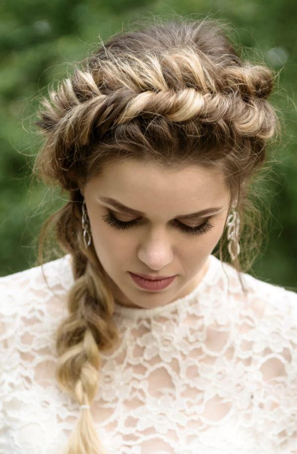 Peinados para novias peinado con trenzas de espiga