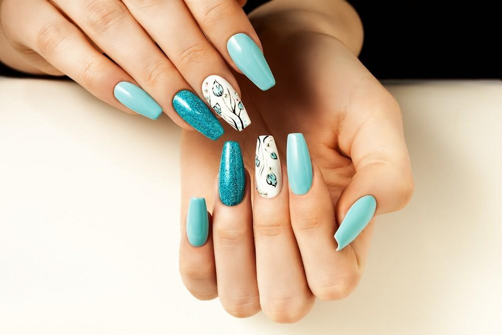 Light Blue Acrylic Nails Coffin Butterfly