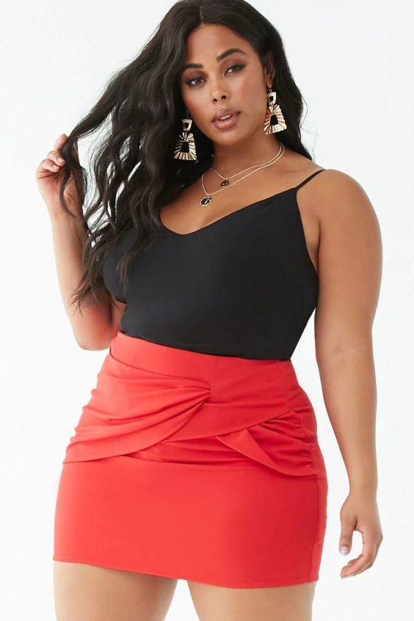mejores-tiendas-tallas-grandes-mini-falda-cruzada-forever21