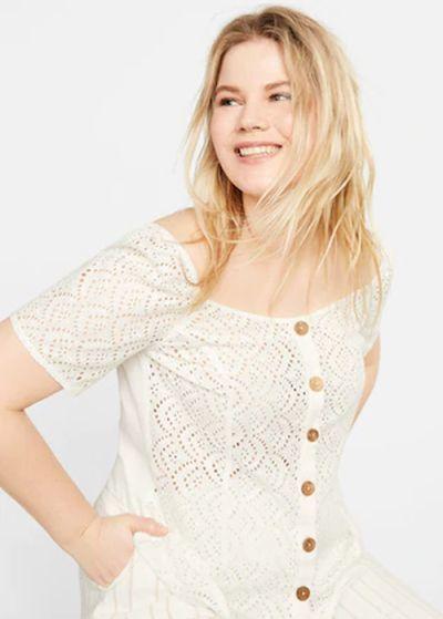 mejores-tiendas-tallas-grandes-camiseta-calada-de-algodon-violetabymango