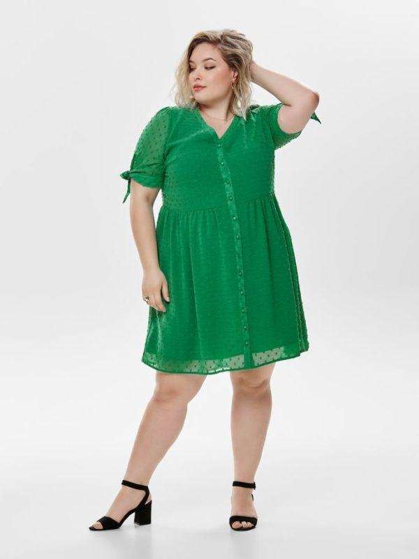 mejores-tiendas-tallas-grandes-vestido-manga-corta-verde-onlycarmakoma