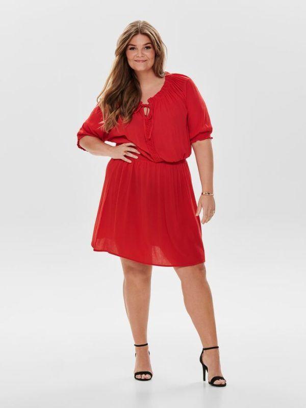 mejores-tiendas-tallas-grandes-vestido-rojo-fruncido-onlycarmakoma